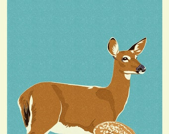 Deer and Fawn - Letterpress - Version #2 (Art Prints available in multiple sizes)