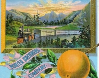California - Train Porter Brothers Company Brand Citrus Label (Art Prints available in multiple sizes)