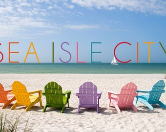 Sea Isle City, New Jersey - Colorful Chairs (Art Prints available in multiple sizes)
