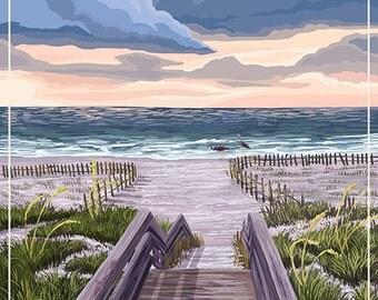 Sea Isle City, New Jersey - Beach Boardwalk Scene (Art Prints available in multiple sizes)