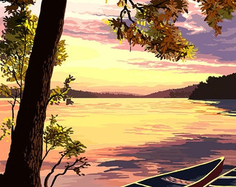 Canoe and Lake at Sunset (Art Prints available in multiple sizes)