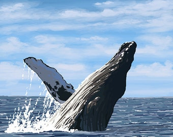 Maui, Hawaii - Humpback Whale (Art Prints available in multiple sizes)