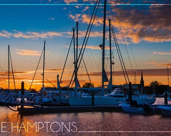 The Hamptons, New York - Boats at Sunset (Art Prints available in multiple sizes)