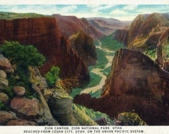 Zion National Park, Utah - Aerial View of Zion Canyon (Art Prints available in multiple sizes)