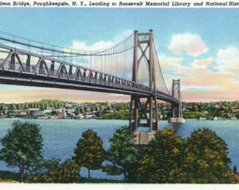 Poughkeepsie, New York - Mid-Hudson Bridge to Roosevelt National Historic Site (Art Prints available in multiple sizes)