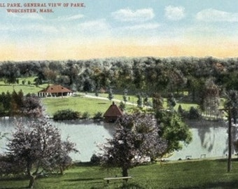 Worcester, Massachusetts - View of Green Hill Park (Art Prints available in multiple sizes)