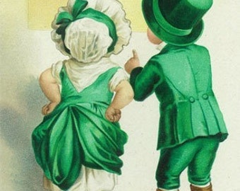 Erin Go Bragh Couple Looking at Ireland Map Scene (Art Prints available in multiple sizes)
