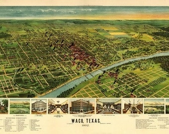 Waco, Texas - Panoramic Map (Art Prints available in multiple sizes)