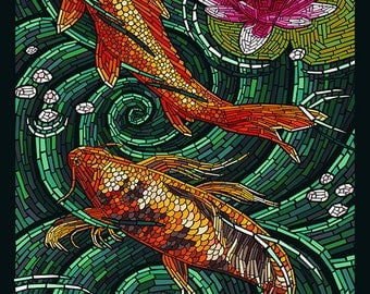 Kauai, Hawaii - Koi Mosaic (Art Prints available in multiple sizes)
