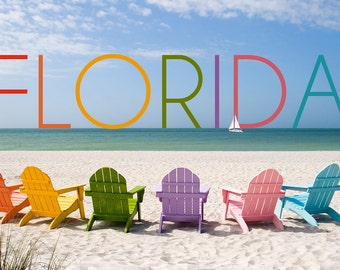 Florida - Colorful Beach Chairs (Art Prints available in multiple sizes)