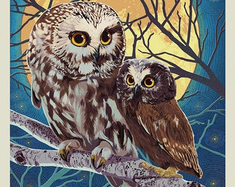 Owl and Owlet - Letterpress (Art Prints available in multiple sizes)