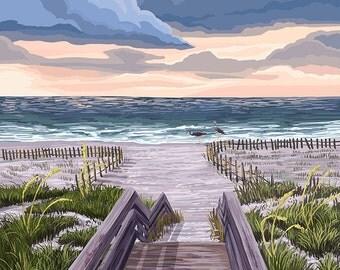 Beach Boardwalk Scene (Art Prints available in multiple sizes)