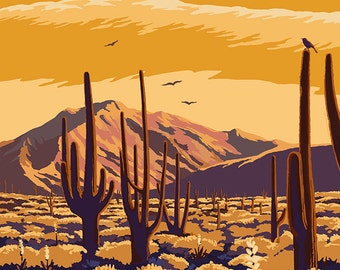 Barstow, California - Desert Scene with Cactus (Art Prints available in multiple sizes)