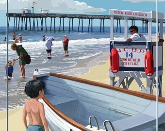 Margate, New Jersey - Lifeguard Stand (Art Prints available in multiple sizes)