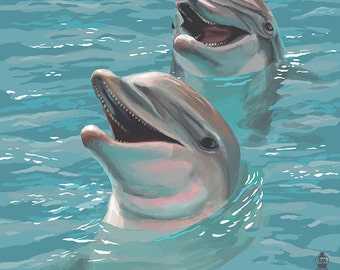 Hilton Head Island, South Carolina - Dolphins (Art Prints available in multiple sizes)