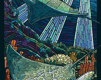 Rays - Paper Mosaic (Art Prints available in multiple sizes)