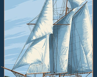 Annapolis, Maryland - Sailboat Scene (Art Prints available in multiple sizes)