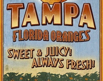 Tampa, Florida - Orange Grove Vintage Sign (Art Prints available in multiple sizes)