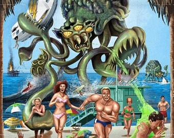 Newport Beach, California - Alien Attack Horror (Art Prints available in multiple sizes)