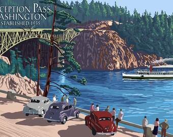 Whidbey Island, Washington - Deception Pass Bridge (Art Prints available in multiple sizes)