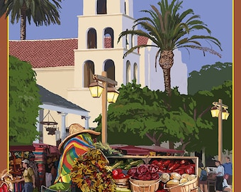 San Diego, California - Old Town (Art Prints available in multiple sizes)