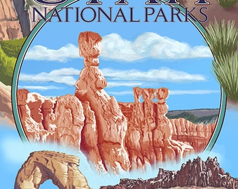 Utah National Parks - Bryce in Center (Art Prints available in multiple sizes)