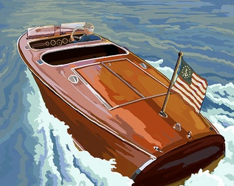 Chris Craft Boat - Washington (Art Prints available in multiple sizes)