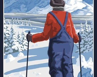 Vermont - Skier Admiring View (Art Prints available in multiple sizes)