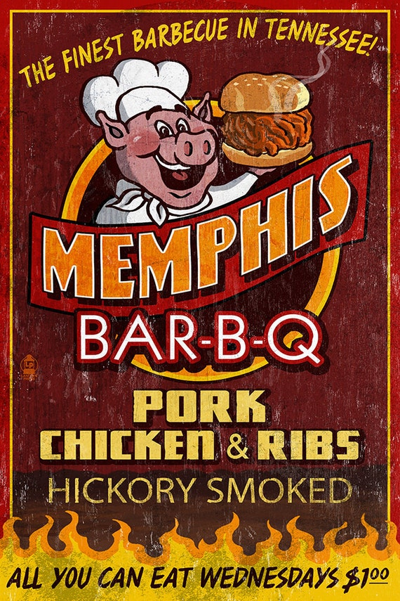 Memphis tennessee barbecue vintage sign art prints available in