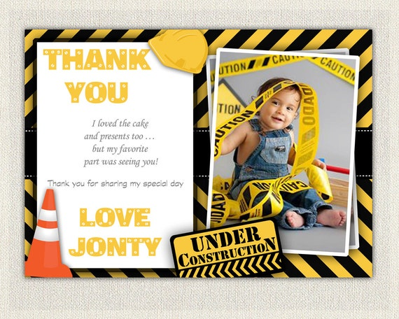PERSONALIZED Construction theme Thank You Card Yellow and Black – Personalized Birthday Thank You Cards