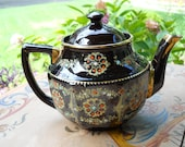 Antique English Red Clay Hand Painted Teapot