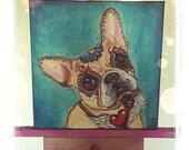 Day of the Dead French Bulldog Puppy Portrait Painting Fine Art Fun Cute Pop Art