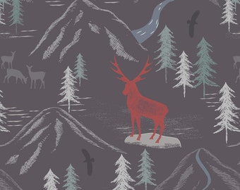 Lewis & Irene Patchwork Quilting Fabric The Glen - A86.2 - Royal stag on slate grey