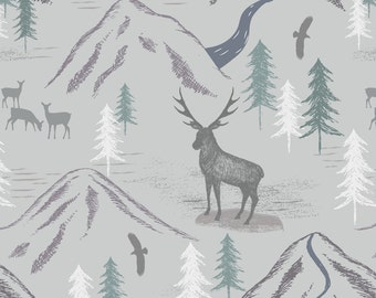 LAST PIECE 69 cm The Glen - A86.1 - Royal stag on light grey Lewis & Irene Patchwork Quilting Fabric