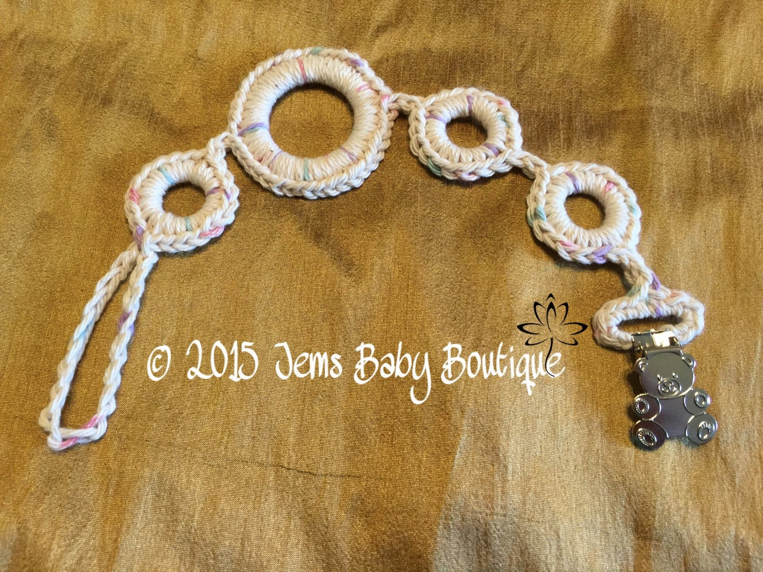 Crochet pacifier holder with bear clasp Ready to Ship cotton