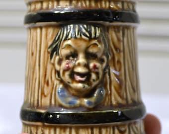 Vintage Salt Shaker Funny Face Single Wood Grain Barrel Panchosporch