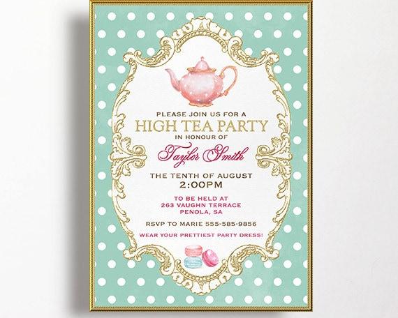 items similar to tea party invitation high tea bridal shower tea digital email printable diy. Black Bedroom Furniture Sets. Home Design Ideas