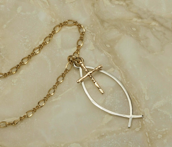 Handmade ichthus necklace christian fish by soulcreekjewelry for Christian fish necklace