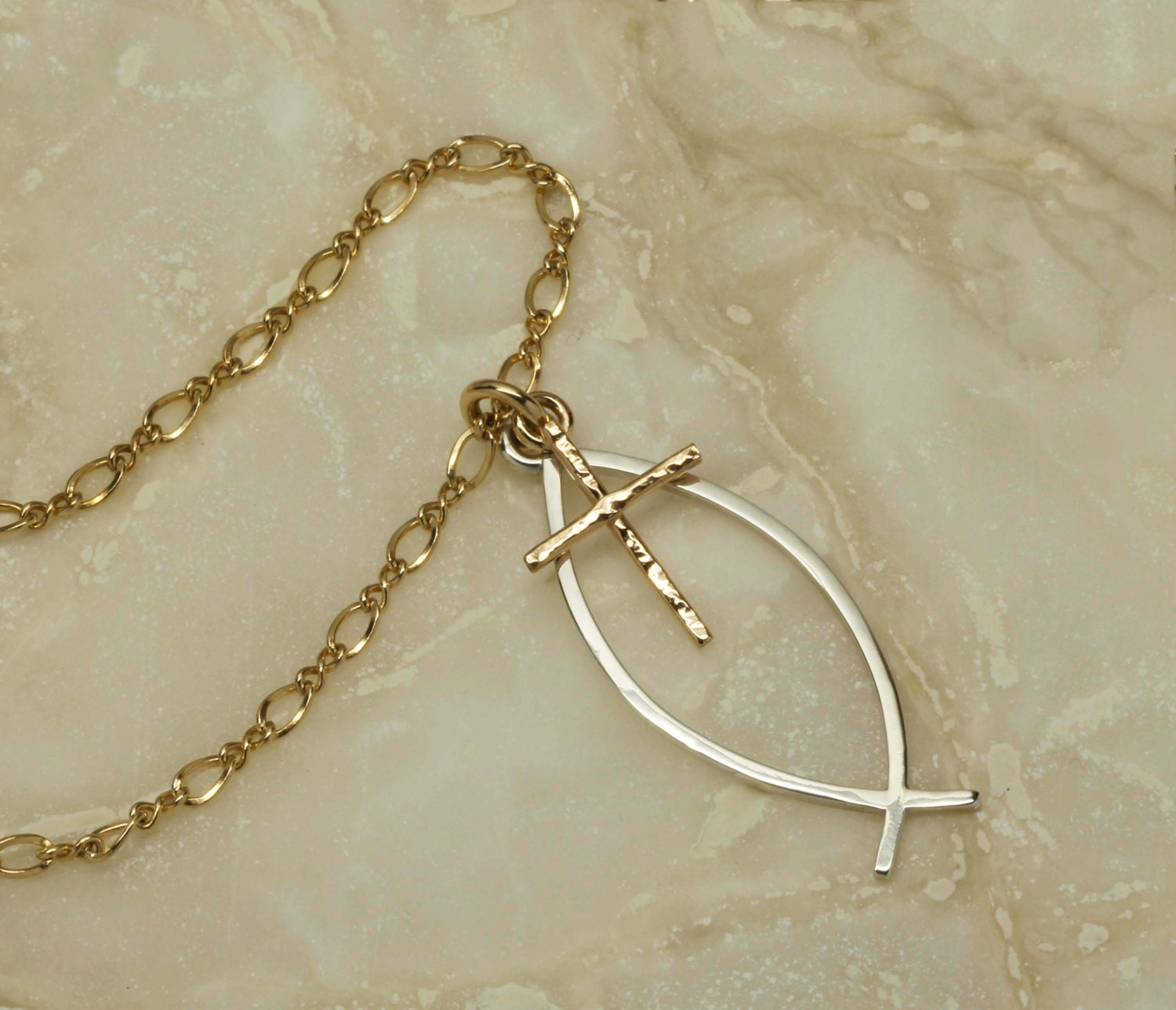 Handmade ichthus necklace christian fish by soulcreekjewelry for Jesus fish necklace