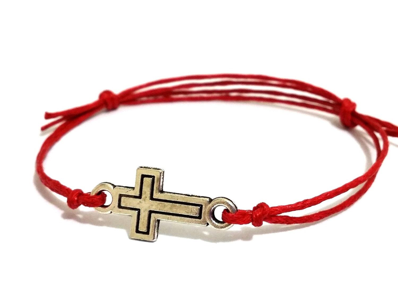 silver cross bracelet with wax cord adjustable wax cord
