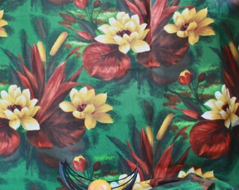 Vintage deco fabric 50s NOS unused 47.2'' x 126'' width x height