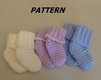 PATTERN Baby Bootie Socks Crocheted