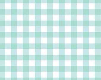 Half Yard Sweetie Pie - Big Check in Aqua and White - Cotton Quilt Fabric - by Michele D'Amore for Benartex Fabrics - 3653-05 (W2840)