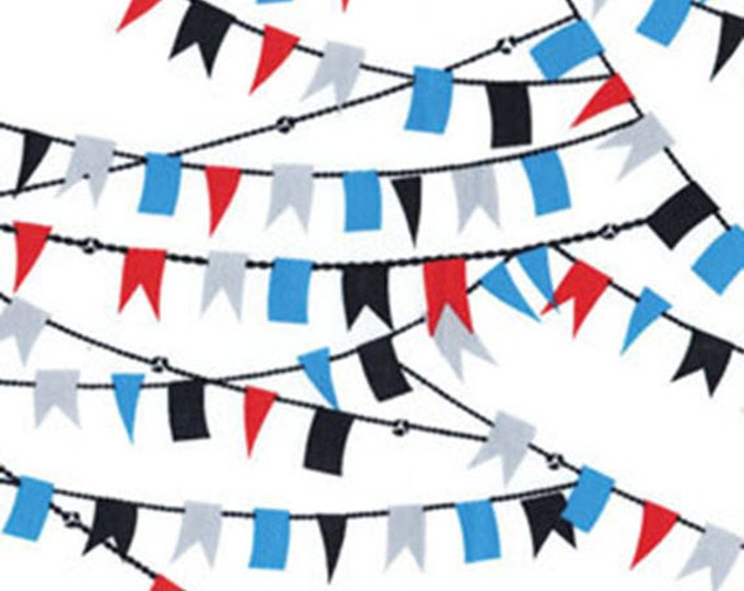 SUPER CLEARANCE! One Yard Cabana - Nautical Flags in White - Cotton Quilt Fabric - by Kanvas - Benartex Fabrics 5974-09 (W2845)