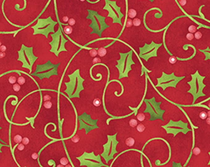 One Yard Santa's Here - Merry Holly in Red - Christmas Cotton Quilt Fabric - Inspired by Nancy Halvorsen for Benartex - 6074-10 (W2974)