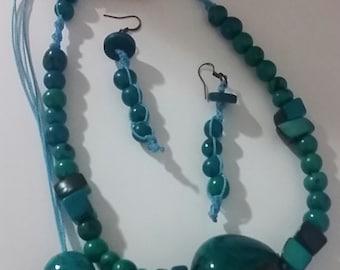 Chunky Tagua Nut Necklace Set/Blue Aquamarine Necklace/Bold Chunky Necklace/Eco Friendly Necklace Set/Macrame Necklace