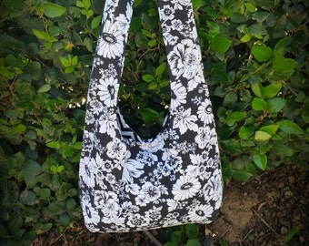 black and white floral hobo bag