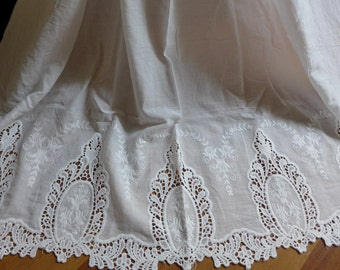 """49.2"""" Wide Cotton Fabric, Retro Hollowed Lace Fabric, White Embroidery Cotton Fabric By the yard"""