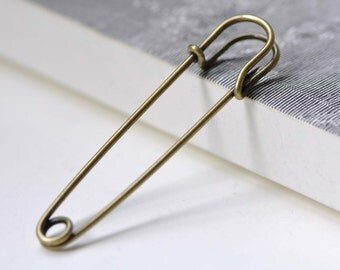 10 pcs Antique Bronze Safety Pins Brooch Blanks Findings 70mm A3870