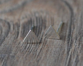 Triangle Stud *Silver*, Sterling Silver Earrings -teeny tiny jewelry from new york